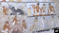This image taken from video, Feb. 3, 2018, shows wall paintings inside a 4,400-year-old tomb near the pyramids outside Cairo, Egypt. Egypt's Antiquities Ministry announced the discovery Saturday and said the tomb likely belonged to a high-ranking official