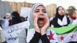 Women take part in a demonstration against Syria's President Bashar al-Assad. (file)