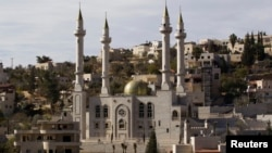 A new mosque with four minarets is seen in the Israeli-Arab village of Abu Ghosh, near Jerusalem on November 22, 2013.