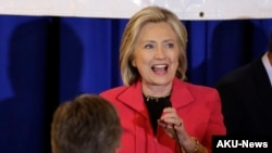 Democratic presidential candidate Hillary Rodham Clinton addresses an audience during a campaign stop at a Flag Day dinner, June 15, 2015, in Manchester, N.H.
