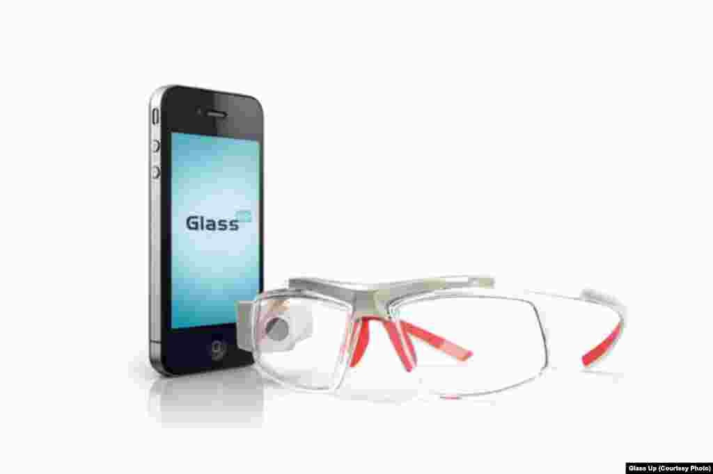 Unlike Google Glass and Smart Glass, Glass Up looks more like a real set of glasses. The display is the center of the right lens and the information appears in the center of the wearer's field of vision.