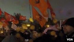 莫斯科的支持政治犯集会(美国之音白桦拍摄)