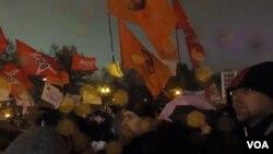 莫斯科的支持政治犯集會(美國之音白樺拍攝)