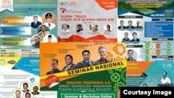 Berbagai poster diskusi, termasuk yang diselenggarakan pemerintah yang all male panels. (Foto ilustrasi: Nurhadi)