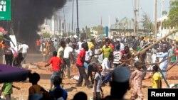 Des manifestants protestent contre le regain de violence au Nigéria, le 1er février 2015.