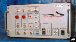 FILE - This undated file photo provided by the U.S. Patent and Trademark Office shows the StingRay II, a cellular site simulator used for surveillance purposes manufactured by Harris Corporation, of Melbourne, Florida.