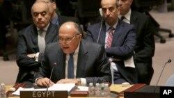 18일 리비아 사태와 관련해 소집된 유엔 안보리 회의에서 이집트 외무장관이 발언하고 있다.