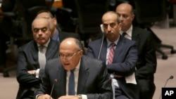 Menu Mesir, Sameh Shoukry dalam sidang DK PBB membahas situasi di Libya, Rabu (18/2).
