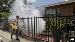 FILE - A Miami-Dade County mosquito-control worker sprays around a home in the Wynwood area of Miami, Aug. 1, 2016.