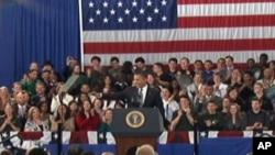美国总统奥巴马2月13日在首都华盛顿附近的一所社区大学发表讲话