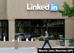 The scene outside LinkedIn's headquarters in Mountain View, California.