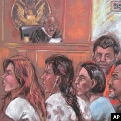 This drawing shows five of the 10 arrested Russian spy suspects in a New York courtroom, 28 Jun 2010