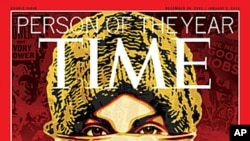 "This image released by Time Magazine shows the Person of the Year issue featuring ""The Protester."" The magazine cited dissent across the Middle East that has spread to Europe and the United States, and says these protesters are reshaping global politics,"