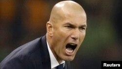 Zinédine Zidane, entraîneur du Real Madrid, lors de la finale de la Ligue des champions, Cardiff, 3 juin 2017
