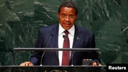 FILE - Jakaya Kikwete, president of Tanzania, addresses the U.N. General Assembly in New York, Sept. 25, 2014.