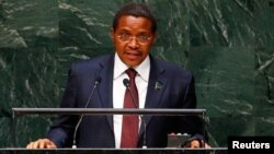 FILE - Tanzanian President Jakaya Kikwete, shown addressing the U.N. General Assembly in September 2014, has warned clerics not to meddle in the nation's politics and says tensions between Muslims and Christians have threatened peace.
