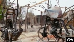 Scene of destruction caused by a Boko Haram attack.