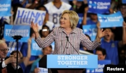 U.S. Democratic presidential candidate Hillary Clinton speaks during a campaign rally at the Omaha North High Magnet School in Omaha, Nebraska, Aug. 1, 2016.