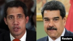 From left, Venezuelan opposition leader Juan Guaido and Venezeulan President Nicolas Maduro.