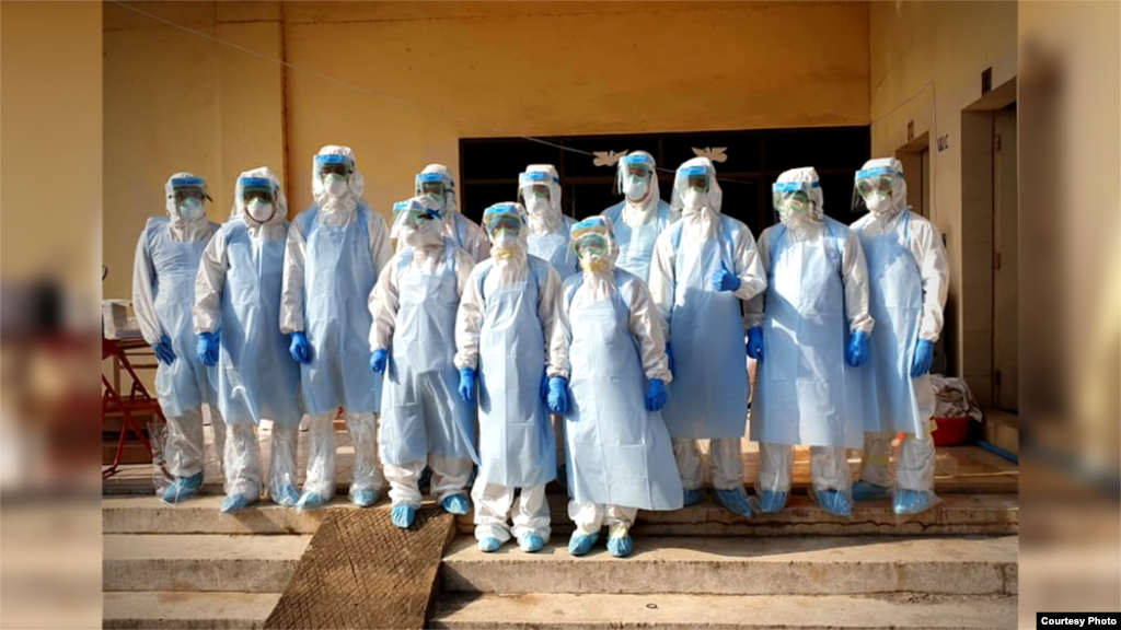 A group of Cambodian medical personnel dressed in protective gear as they performed coronavirus testing. (Courtesy of Cambodia's Communicable Disease Control Department)