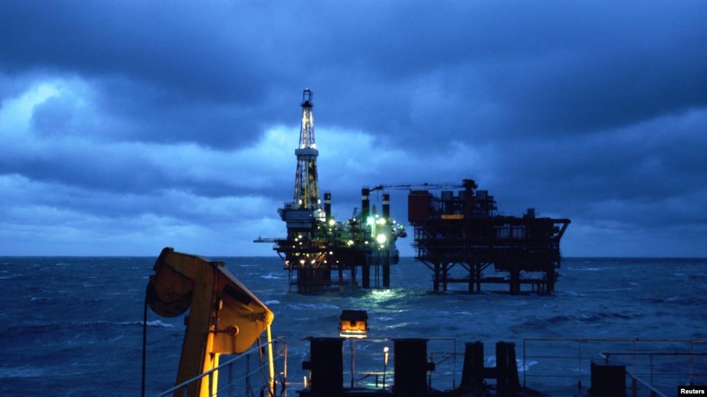 中國國企巨頭中海油在渤海遼東灣的海上鑽井平台。 (資料照)