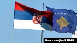 Zastave Srbije i Kosova - ilustrovana kombinacija