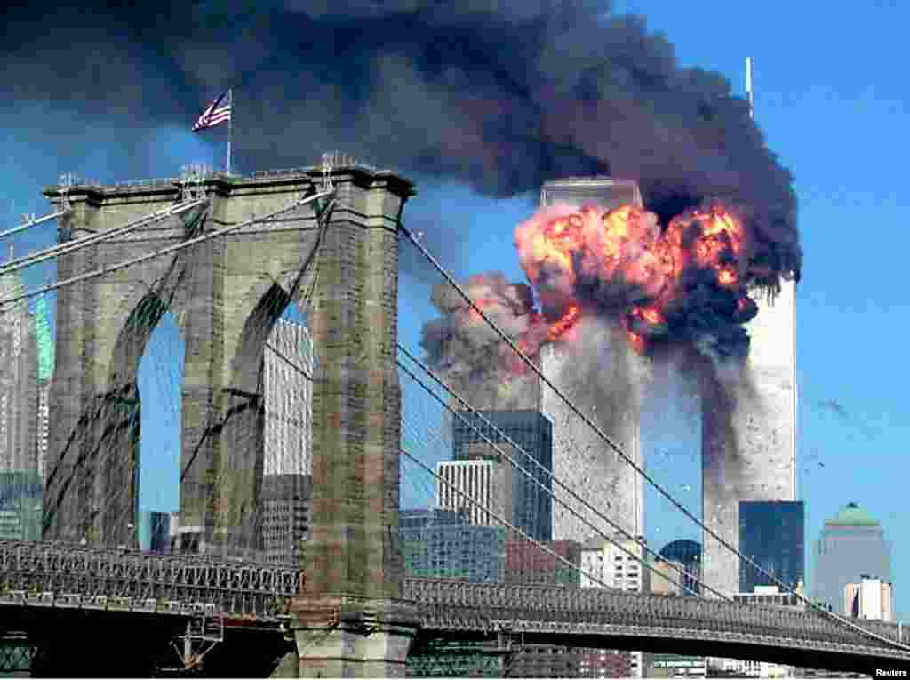 The second tower of the World Trade Centre explodes after being hit by a hijacked airplane in New York.
