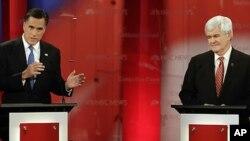 미 공화당 대통령 후보 경선에서 치열한 경쟁을 벌이고 있는 밋 롬니 전 매사추세츠 주지사(좌)와 뉴트 깅리치 전 하원의장
