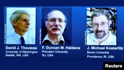 올해 노벨물리학상 수상자로 결정된 데이비드 사울레스, 덩컨 홀데인, 마이클 코스털리츠 교수(왼쪽부터).