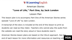 Lesson Plan - 'Love of Life,' Part One