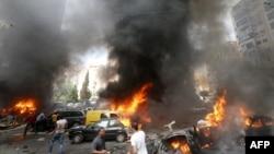9일 레바논 수도 베이루트에서 발생한 차량 폭탄 테러 현장.