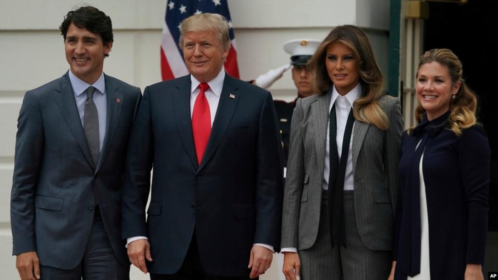 Từ trái sang: Thủ tướng Canada Justin Trudeau, Tổng thống Mỹ Donald Trump, Đệ nhất phu nhân Mỹ Melania Trump và Đệ nhất phu nhân Canada Sophie Gregoire Trudeau.