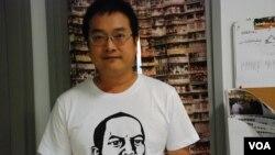 香港浸會大學社會學系研究助理教授陳允中,由2004年開始每年都有參加71大遊行 (美國之音湯惠芸)