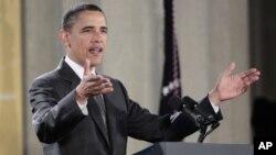 براک اوباما، رئیس جمهور ایالات متحده امریکا درمورد تحولات شرق میانه و شمال افریقا سخنرانی می کند