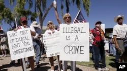 Manifestação contra a imigração ilegal nos Estados Unidos