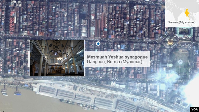 Satellite map showing location of Mesmuah Yeshua synagogue in Rangoon, Burma (also known as Myanmar)
