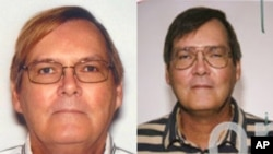 This combination of photos provided by the Federal Bureau of Investigation shows William James Vahey in 2013, left, and 2004.