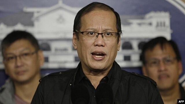 Tổng thống Philippines Benigno Aquino trong một cuộc họp báo tại Dinh Malacanang ở Manila.