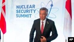 新加坡總理李顯龍2016年4月1日在美國首都華盛頓出席核安全峰會。