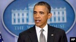 Presiden Barack Obama berbicara kepada media di Gedung Putih, Selasa, 16 April 2013.