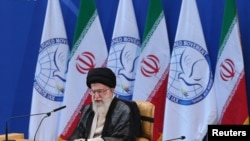 Iran's Supreme Leader Ayatollah Ali Khamenei speaks during the 16th summit of the Non-Aligned Movement in Tehran, August 30, 2012.