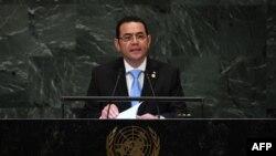 Jimmy Morales, presidente de Guatemala, durante la sesión No. 73 de la Asamblea General en las Naciones Unidas en Nueva York el 25 de septiembre de 2018.