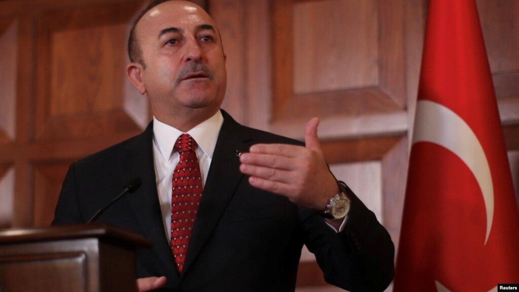 Ngoại trưởng Thổ Nhĩ Kỳ Mevlut Cavusoglu tại cuộc họp báo ở Ankara,Thổ Nhĩ Kỳ, ngày 14/1/2019.