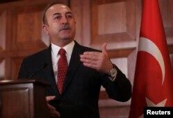 Turkish Foreign Minister Mevlut Cavusoglu speaks during a news conference in Ankara, Turkey, Jan. 14, 2019.