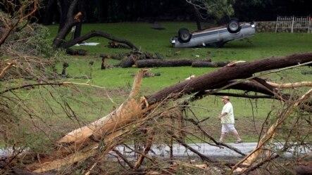 Nước lũ làm đổ cây cối, lật xe cộ tại Wimberley, Texas.