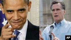 Tổng thống Hoa Kỳ Barack Obama (trái) và ông Mitt Romney