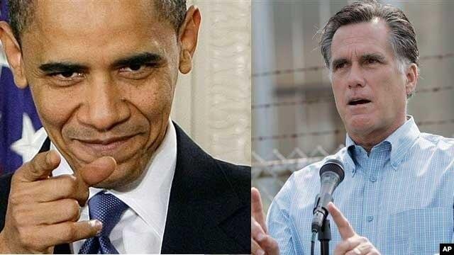 Predsednik Barak Obama i njegov republikanski rival Mit Romni