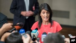 U.S. Ambassador to the United Nations Nikki Haley speaks to reporters after a Security Council vote on a new sanctions resolution that would increase economic pressure on North Korea.