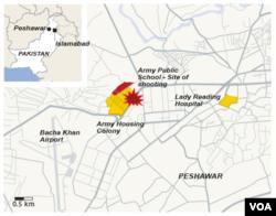 Peshawar, Pakistan, site of school shooting, Dec. 16, 2014