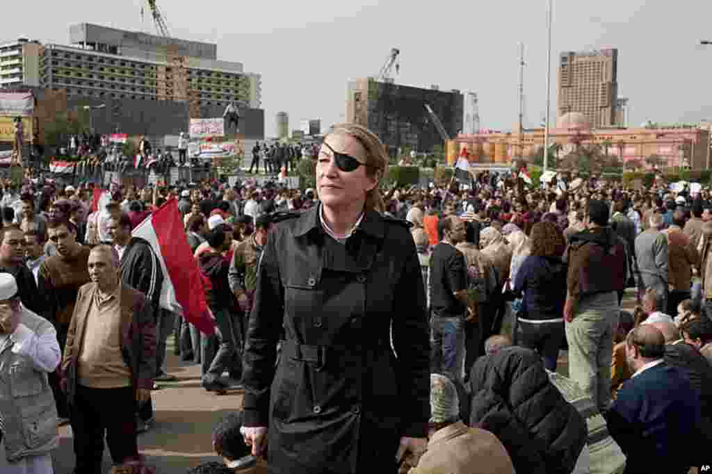 War correspondent Marie Colvin in Tahrir Square, Egypt, was working for Sunday Times of London when she was killed by Syrian government shelling in Homs, Syria. (AP)